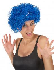 Blauwe pruik met krullen voor volwassenen
