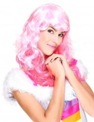 Lange roze fluo pruik voor vrouwen
