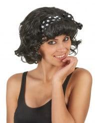 Zwarte jaren 50 retro pruik met haarband voor vrouwen
