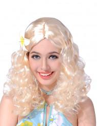 Blonde pruik met krullen en bloem