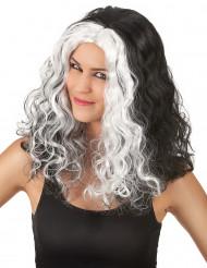 Zwarte pruik met blonde lokken voor vrouwen