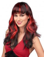 Rood-zwart pruik voor dames