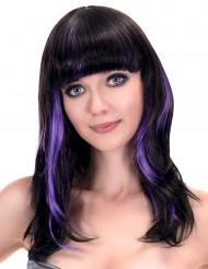 Zwart pruik met paarse lokken voor vrouwen