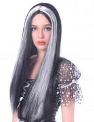 Lange zwart-wit pruik voor dames