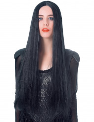 Gothic lange zwarte steile pruik voor vrouwen