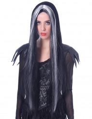 Extra lange zwart-wit pruik voor vrouwen