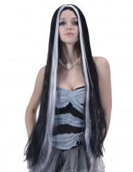 Lange zwarte en witte pruik voor vrouwen