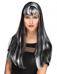 Lange zwart-wit vampier pruik met franje voor vrouwen
