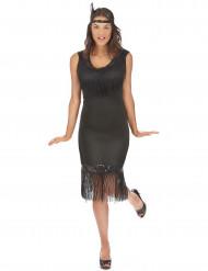 Zwart Charleston kostuum voor dames
