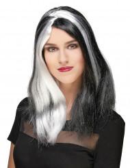 Lange zwart-wit pruik voor vrouwen Halloween