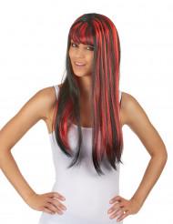 Lange zwart met rode pruik voor vrouwen