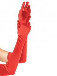 Extra lange rode satijn handschoenen