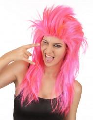 Roze punk rock pruik voor vrouwen