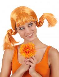 Oranje pruik met vlechten voor vrouwen