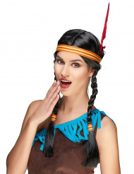 Indianen pruik met veer voor volwassenen