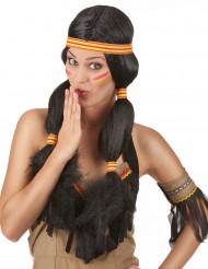 Gevlochten donkere indianen pruik voor dames