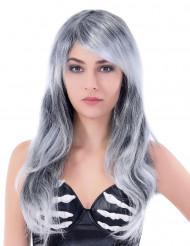 Lange grijze pruik met golven voor vrouwen