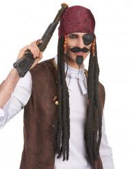 Lange piraten pruik met hoofddoekje voor volwassenen
