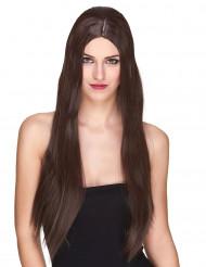 Luxe lange bruine pruik voor vrouwen