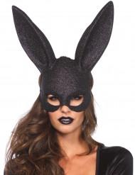 Zwart glitter konijnenmasker voor volwassenen