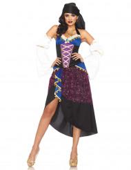 Blauw en paars zigeuner kostuum voor dames