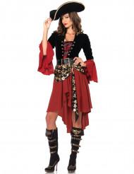 Piraten outfit met goudkleurige schedels voor vrouwen