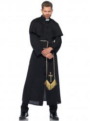 Zwart en goudkleurig priester kostuum voor mannen
