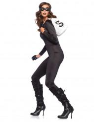 Zwart second skin kostuum voor vrouwen