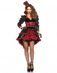 Zwart met rood burlesk vampier outfit voor dames