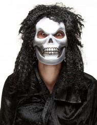 Halloween masker van schedel met lang haar