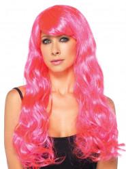 Lange golvende roze pruik