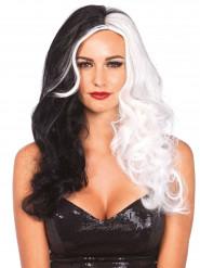 Zwart en witte Cruella pruik voor dames