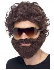 Bruine pruik met baard voor volwassenen