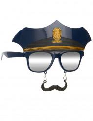 Politie bril met snor voor volwassenen