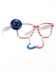 USA bril met snor voor volwassenen