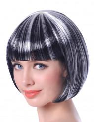 Korte zwart-wit pruik voor dames