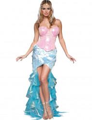Roze blauw zeemeermin kostuum voor dames - Premium