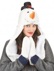 Sneeuwpop muts met sjaal voor volwassenen Kerst