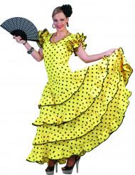 Geel flamenco kostuum met stippen voor vrouwen
