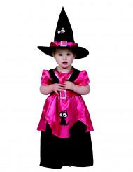 Roze heksen kostuum met zwarte kat voor meisjes