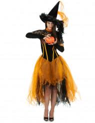 Oranje heksen outfit voor dames Halloween