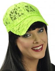 Groene pet voor dames met kant