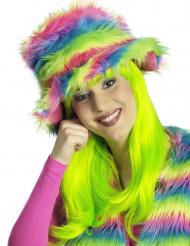 Pluche hoed regenboog voor volwassenen