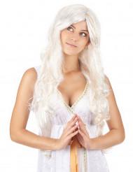 Lange engelenpruik met goudkleurige draden voor vrouwen