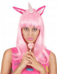 Roze eenhoorn pruik voor vrouwen