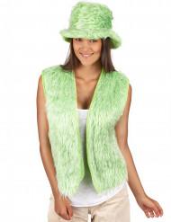 Groen pluche gilet voor volwassenen