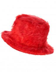 Rode hoed met pluizige stof
