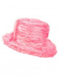 Roze pluizige hoed voor volwassenen