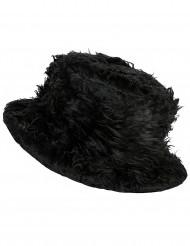 Zwart pluizig hoed voor volwassenen