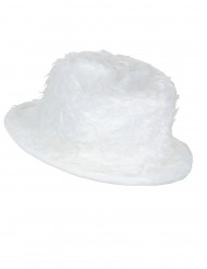 Wit pluizige hoed voor volwassenen